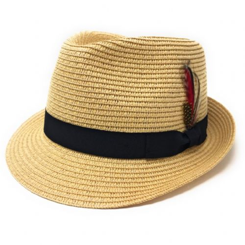Straw Trilby Hat with Removable Feather - Beige